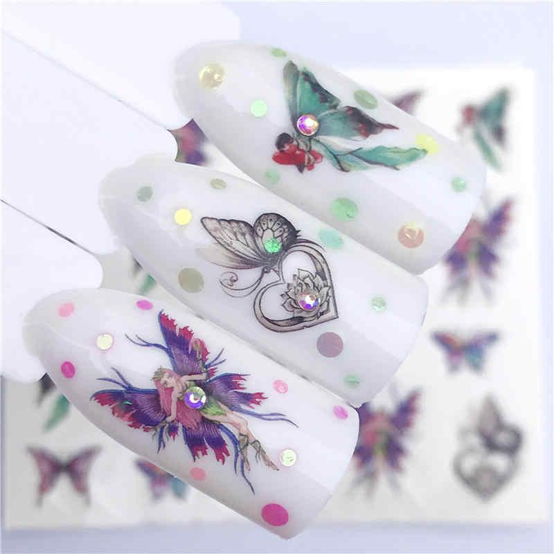 WUF 1 แผ่นสติกเกอร์เล็บดอกไม้ผีเสื้อรูปลอกSlidersสำหรับตกแต่งเล็บTATTOO Manicure Wrapsเครื่องมือเคล็ดลับ