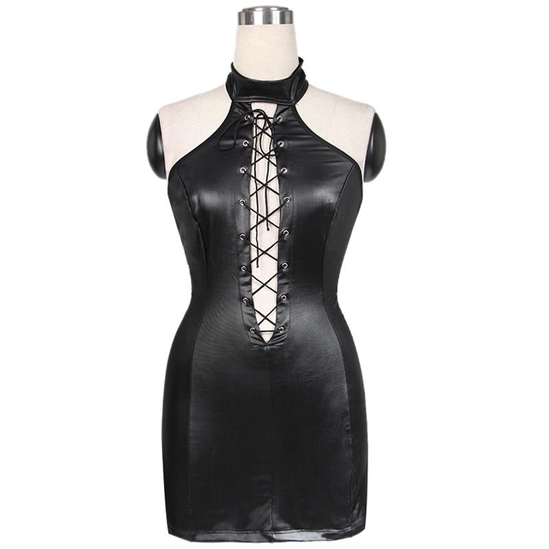 221ee67881fcd Leather Dress Wholesale Price Hot Sale Fashion Black Women Club Dress High  Quality Vinyl Mini Sexy Halter Dresses 6301