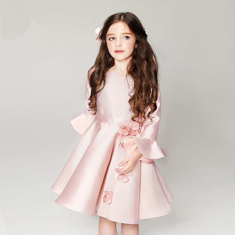 ФОТО 3-14 Years Old Longsleeve Girls Chiffon Dress Rose Quartz Wedding Flower Girl Princess Birthday Party Dress