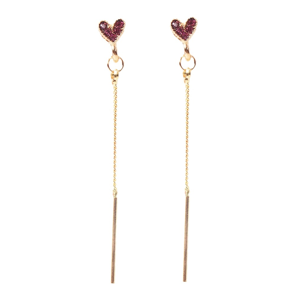 Hot Fashion Women Crystal Love Heart Shape Gold Long Hollow Chain Earrings Girl Party Accessories Jewelry 2018 New