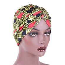 Women Ethnic Style Print Turban Cap Cross Muslim Hat Nightcap Chemotherapy Headscarf Female Bandanas Headwear Hijab