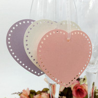 50Pcs Europen Heart Shape Craft Paper Hang Tag Wedding Label Price Gift Card Glass Tags Decoration