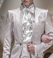 Ivoire Broderie Satin Smokings Pour Hommes Italien Style Hommes Costumes Formelle Parti Blazer Avec Un Pantalon Marié De Mariage De Bal Costumes