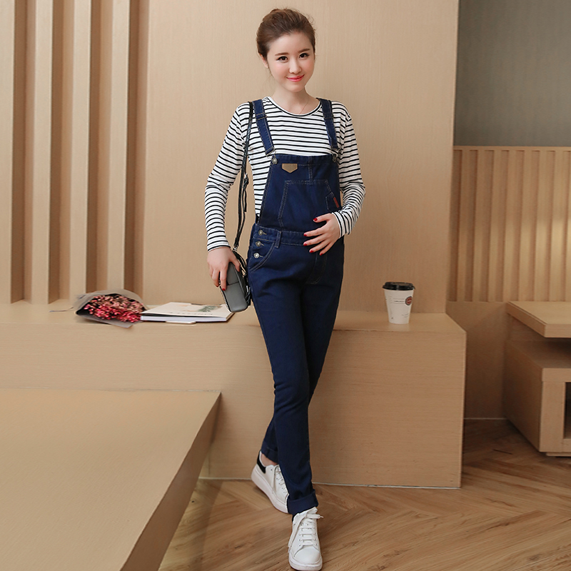 Autumn Maternity Jumpsuits Fashion Pregnancy Clothes Elasticity Jeans Overalls Braces Pants For Pregnant Women Loose Clothing 2017 summer maternity bib overalls black white pregnancy dungarees pregnant pants fashion jumpsuits for pregnant women