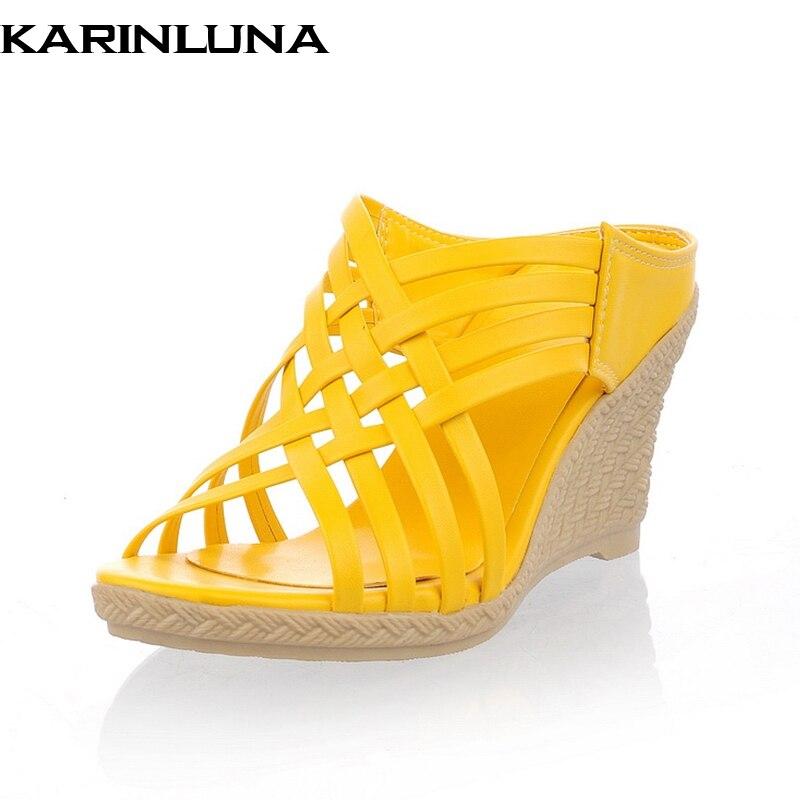 Karinluna 2018 wholesale bohemia style wedge high heels women shoes mules pumps platform slip on summer shoes woman