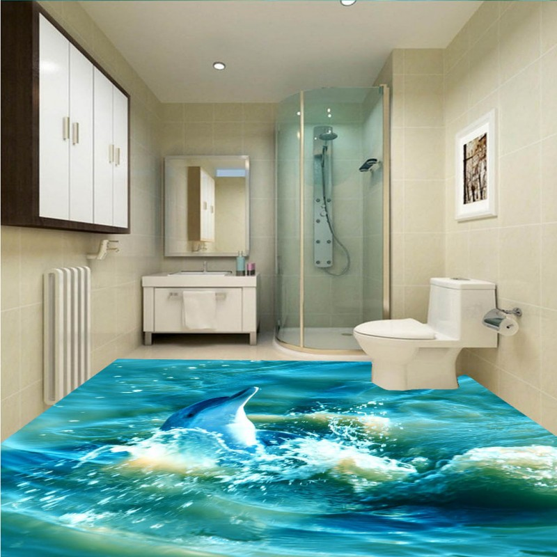 Free Shipping Playing water Dolphin Spray 3D bathroom living room kitchen office self-adhesive floor wallpaper mural