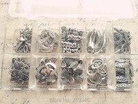 (قلادة و قفل كبير) 80 قطعة/المجموعة ميكس 10 نمط خمر التبت فضة المعلقات وموصلات النتائج مجوهرات وكماليات