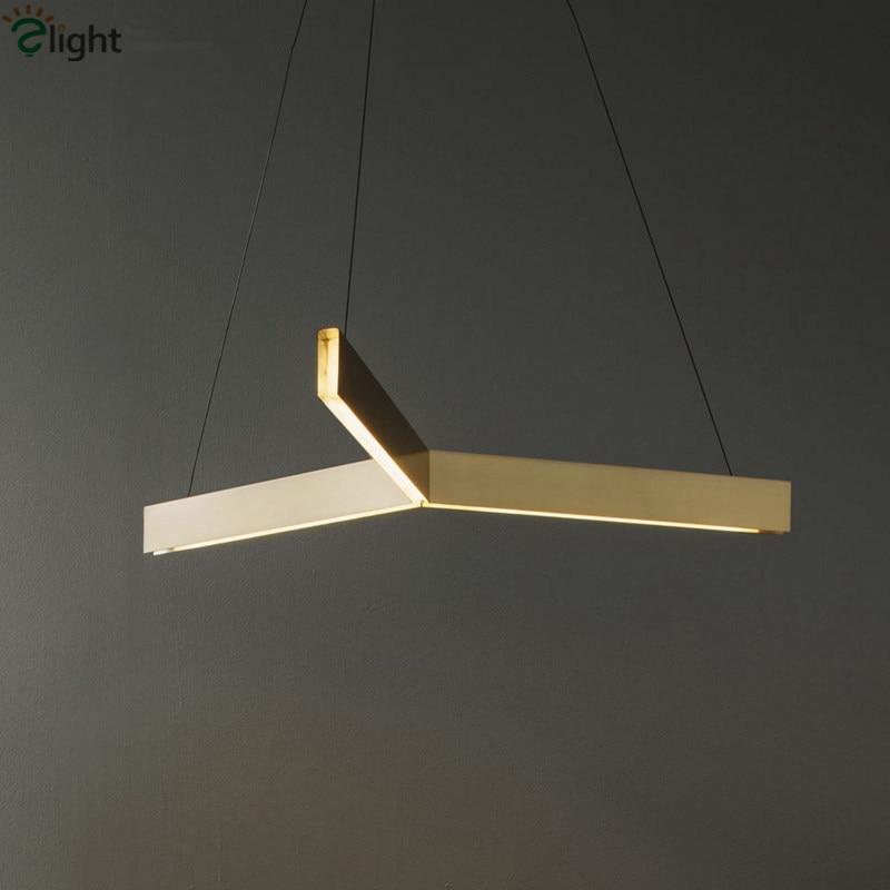Post Modern Resident Gold Led Tri Pendant Light Foyer Led Triangle Hanging Light Adjustable Led Suspension Lamp modern 3 color adjustable triangle