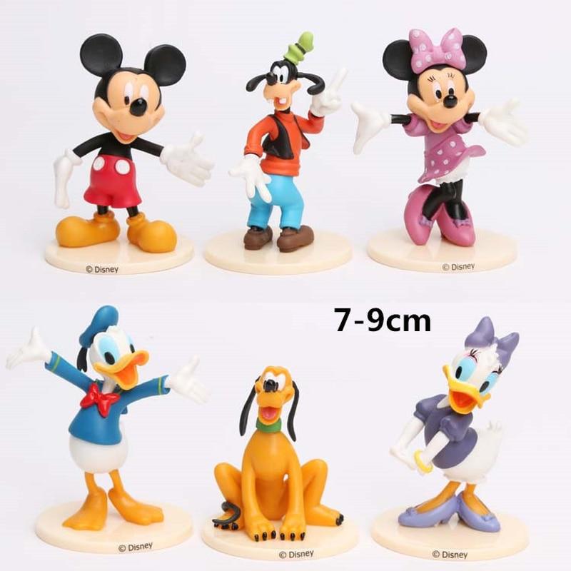 6 Pcs/set Disney Mickey Mouse Action Figures Toys PVC Model Minnie Mouse Doll for Kids Girls Birthday Gift Disney Toys