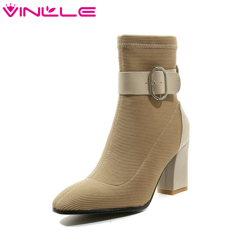VINLLE 2019 Women Ankle Boots Pu Leather +knitting Sock