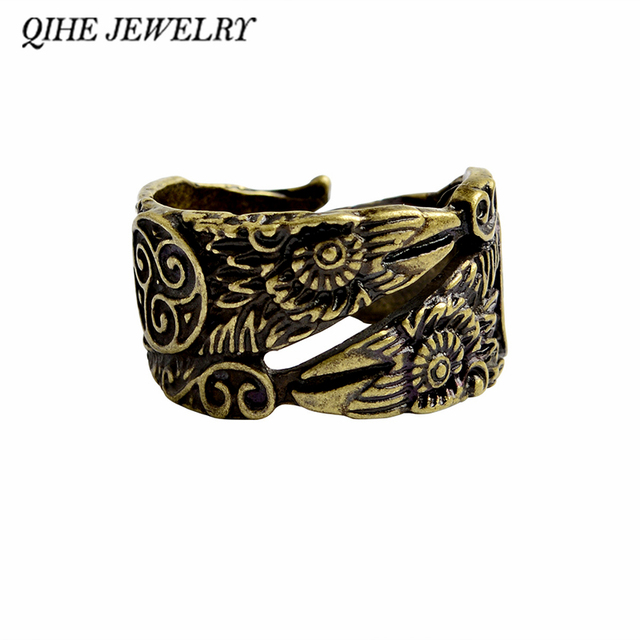 5f2eecbf288a QIHE joyería gótica Odin Cuervo anillo Huginn y Muninn anillos para hombres  pájaro anillo vikingo joyería
