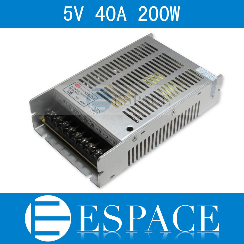 Best quality 5V 40A 200W Switching Power Supply Driver for LED Strip AC 100-240V Input to DC 5V free shipping best quality 5v 2a 10w switching power supply driver for led strip ac 100 240v input to dc 5v free shipping
