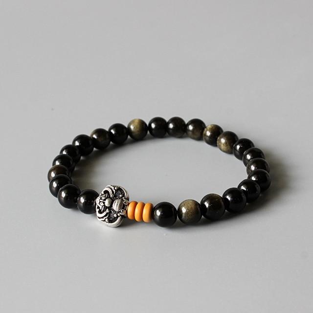 d966e8302a6f54 En gros D or Obsidienne Perles Bracelet Extensible Avec Antique Cuivre  Chinois Ethniques Chanceux Charmes