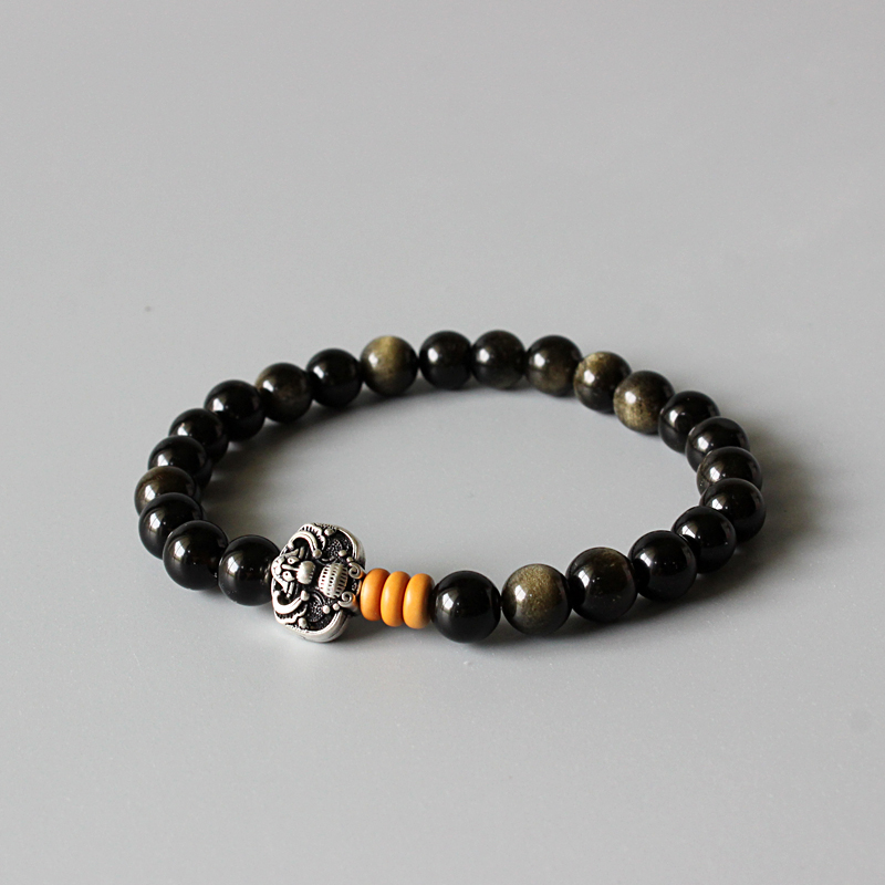 Wholesale Golden Obsidian Beads Stretch Bracelet With Antique Copper Chinese Ethnic Lucky Charms Artisan Crafted Jewelry For Men