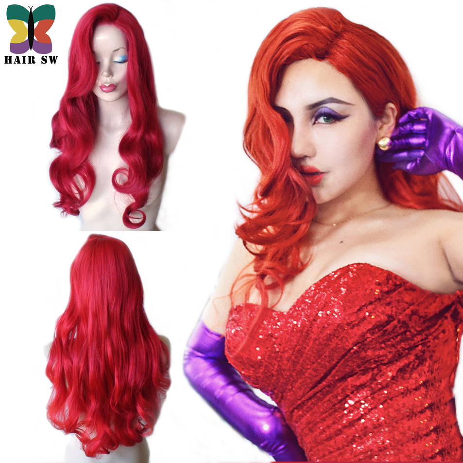 jessica rabbit cosplay anime wig cheap long wavy red halloween drag queen princess synthetic hair heat - Red Wigs For Halloween