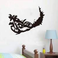 Hot Sale Galloping Motocross Sports Wall Sticker Motorbike Removable Vinyl Diy Wall Decals For Boys Room Home Decor