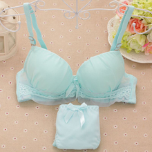 Solid color thin section 2016 summer girls lace lingerie small chest gather adjustable bra comfortable cotton