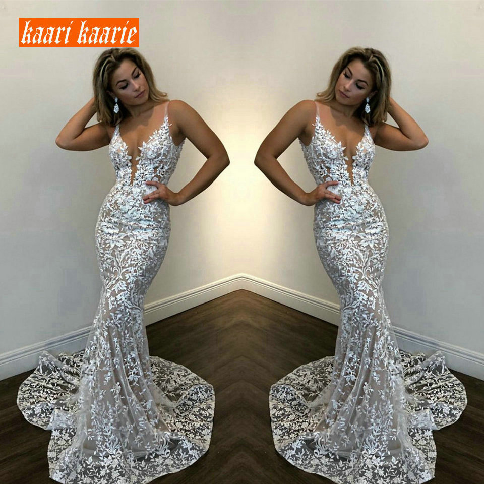 Luxury Lace Mermaid Long Dress Evening Party 2018 Sexy Evening Gowns Women ball gown V Neck Sleeveless bodycon Prom Formal Dress