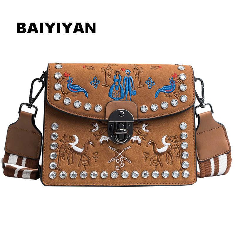 783f2b076cf New Women's Embroidery Flower Flap Shoulder Bag Designer PU Leather Fashion  Rivet Messenger Bag Ladies Rivet Handbag