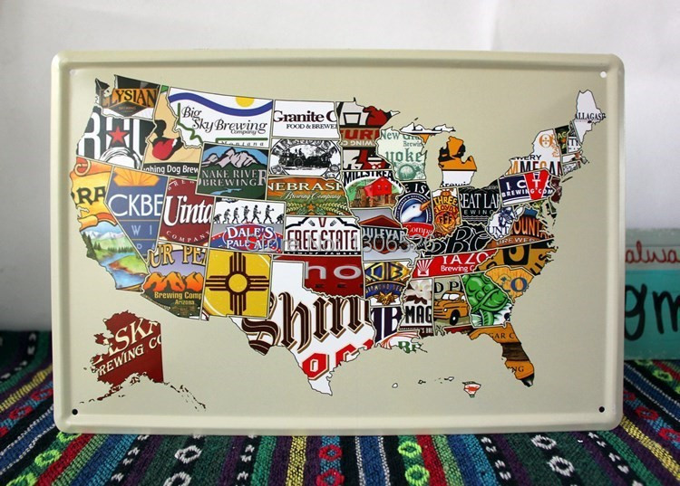 usa scratch map diy vintage poster home decoration metal tin signs ...