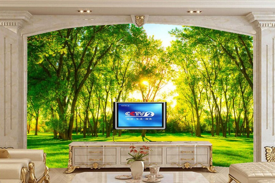 Beautiful green forest scenery 3d wallpaper restaurant for Scenery wallpaper for living room