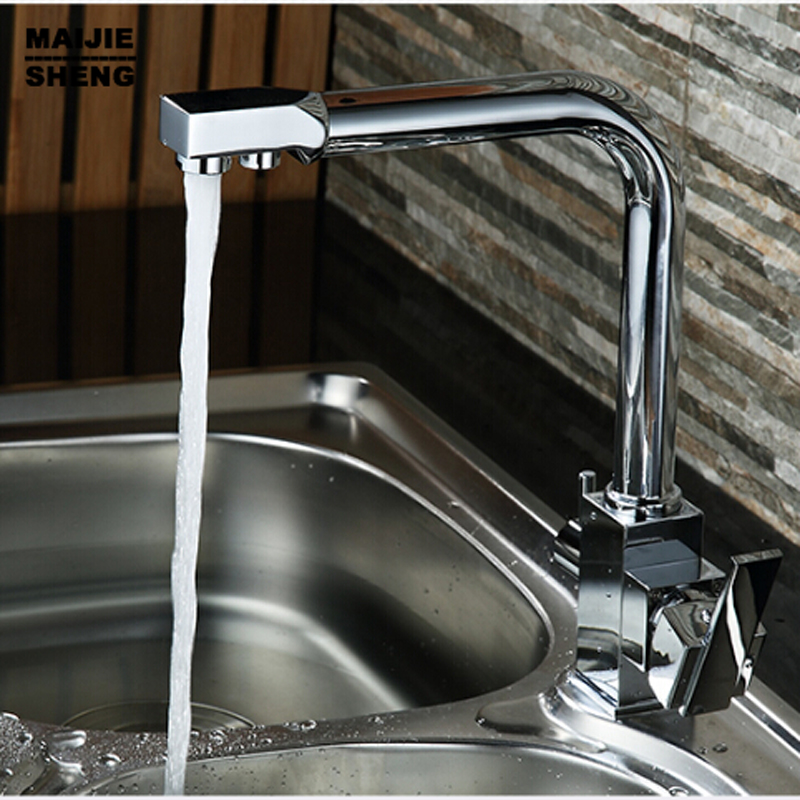 kitchen dinking faucet three way sink mixer tap water Filter kitchen faucet 3 way kitchen faucet