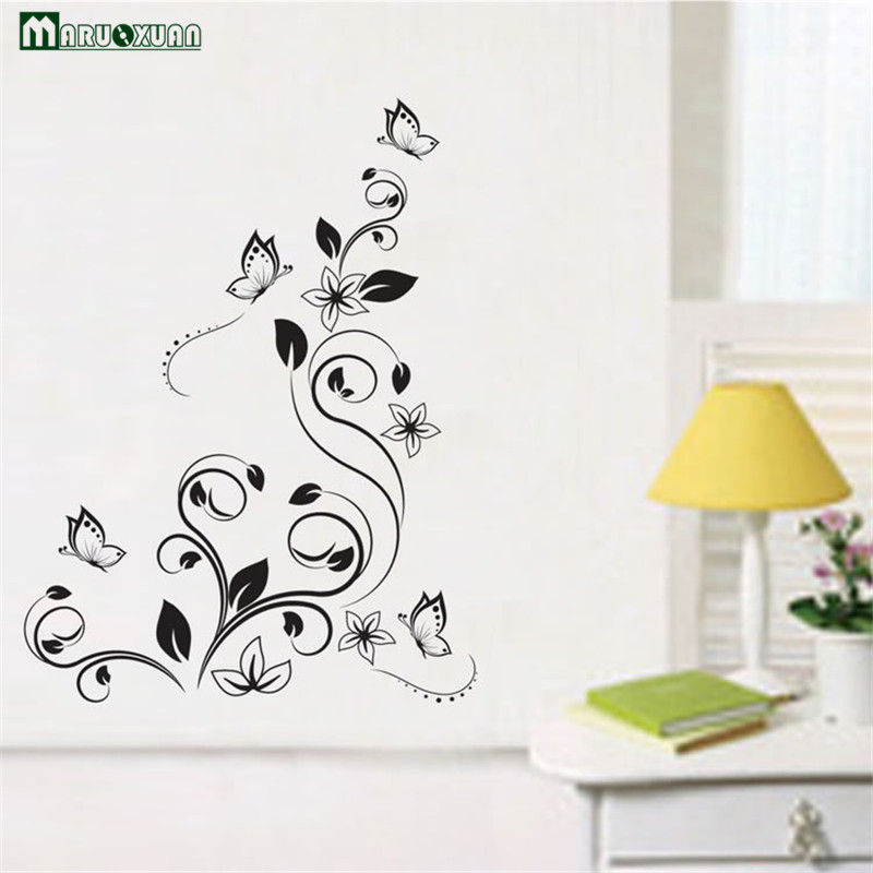 Black Butterfly Knob Flower PVC Transparent Film Wall Paste Wholesale Living Room Study Bedroom Bedroom Wall Decoration Paper