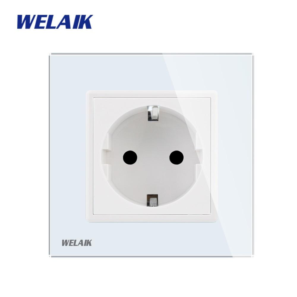 WELAIK Manufacturer-European-Standard Power-Socket Glass-Panel Wall-Socket-EU Wall Outlet-White-Wall-Socket 16A AC110~250V A18EW