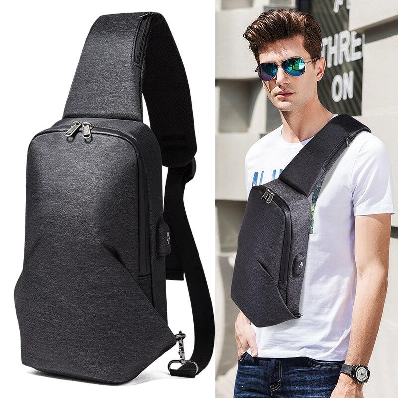 Men's Crossbody Bags USB Charging Chest Pack Short Trip Messengers Chest Bag Men Anti Theft Shoulder Bag Male ML011