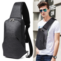 Men's Crossbody Bags USB Charging Chest Pack Short Trip Messengers Chest Bag Men Anti Theft Shoulder Bag Male ML011