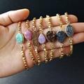 WT-B261Gold plated druzy bracelet brass beads stone bracelet jewelry ,Vintage gold stone bracelet lady bracelet