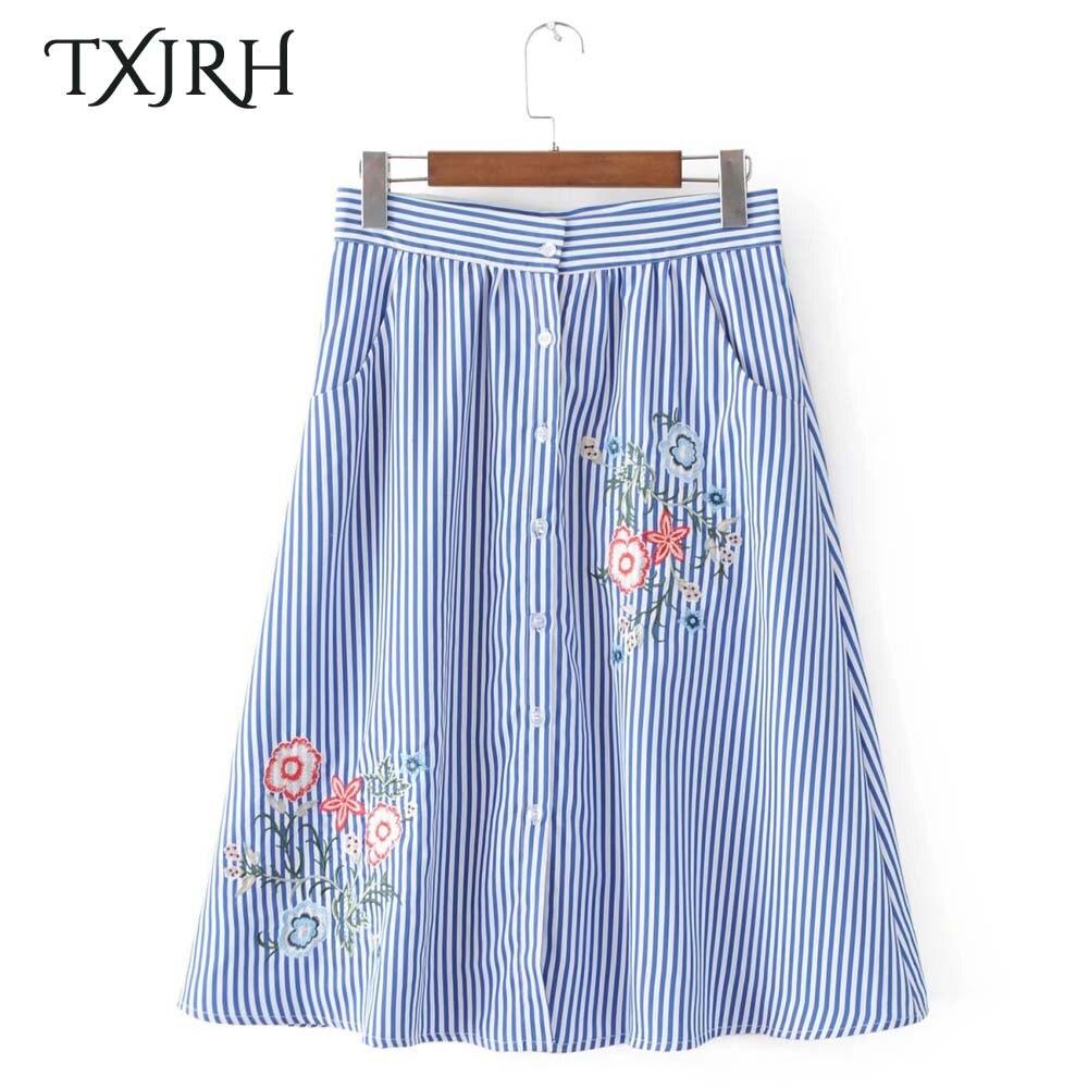 TXJRH Vintage Flower Floral Embroidery Blue White Striped High Waist Button A-Line Skirt Stylish Women Knee-Length Swing Skirt