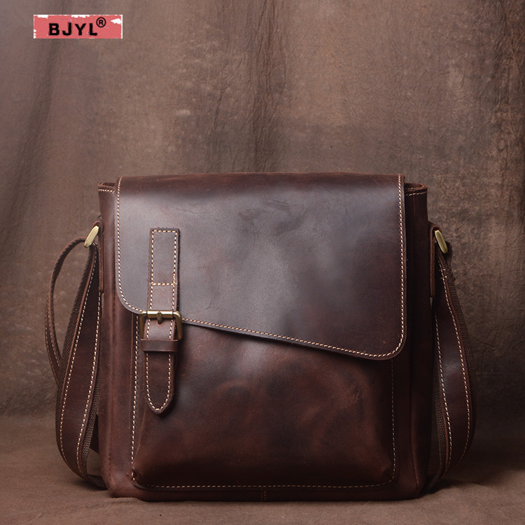 BJYL Handmade original men's bag casual crazy horse leather shoulder bag male Retro Vertical section crossbody Messenger bag цена