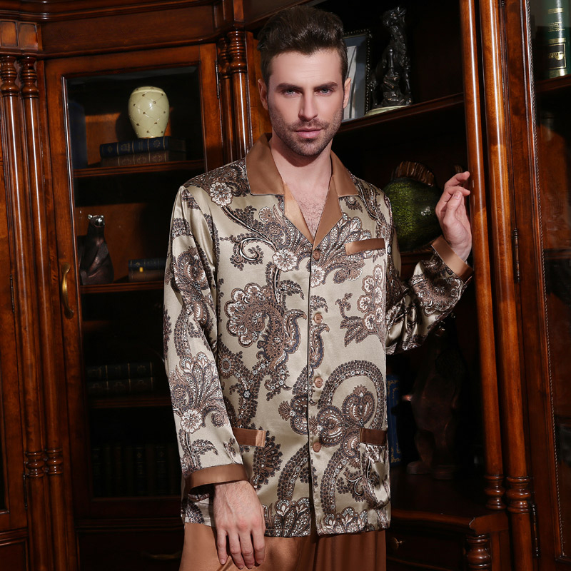 Sexy Genuine Silk Men's Pajamas 100% Silkworm Silk Sleepwear Male Fashion Printed Long-Sleeve Pyjama Pants Two-Piece Sets Z1233