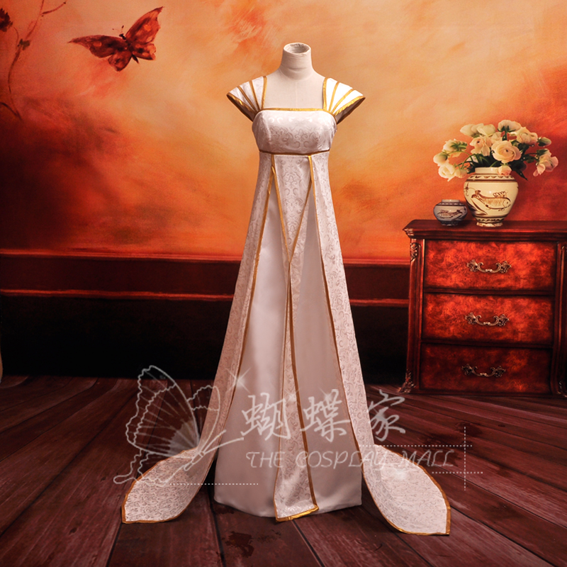 Japanese anime Fate Cosplay Irisviel Dress Cosplay Costumes - White S M L XL (Free Shipping)