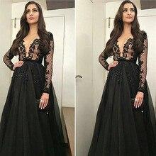 Langarm Schwarz Abendkleider Sexy Tiefer V-ausschnitt Organza eine Linie Bodenlangen Formale Kleider Arabischen Robe De Soiree