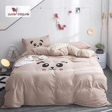SlowDream Camel Bedding Set Cartoon Bedspread Bed Linens Cotton Bear Flat Sheet Double Queen King Size Child Bedclothes