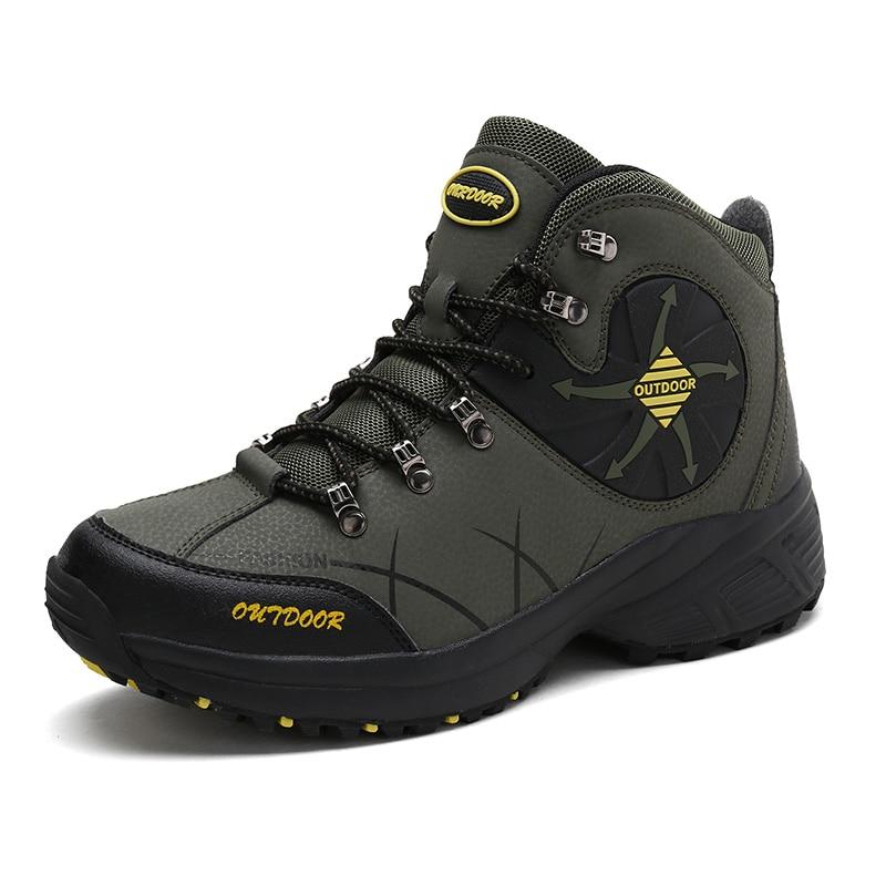 Men Hiking Shoes Waterproof High Top Boots Trekking Climbing Boots Fur Plus Size