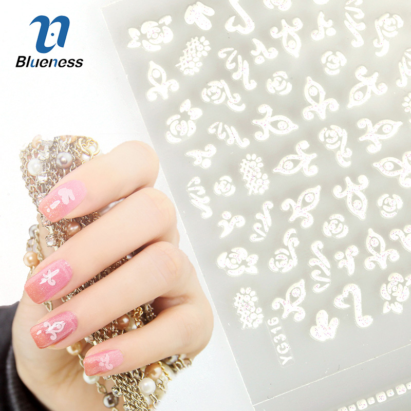 Blueness 24Pcs/Lot 3D White Flowers Design Charms Nail Art Decals Manicure Decorations Supplies DIY Stickers For Nails JH165 24pcs lot 3d nail stickers beauty summer styles design nail art charms manicure bronzing vintage decals decorations tools jh151