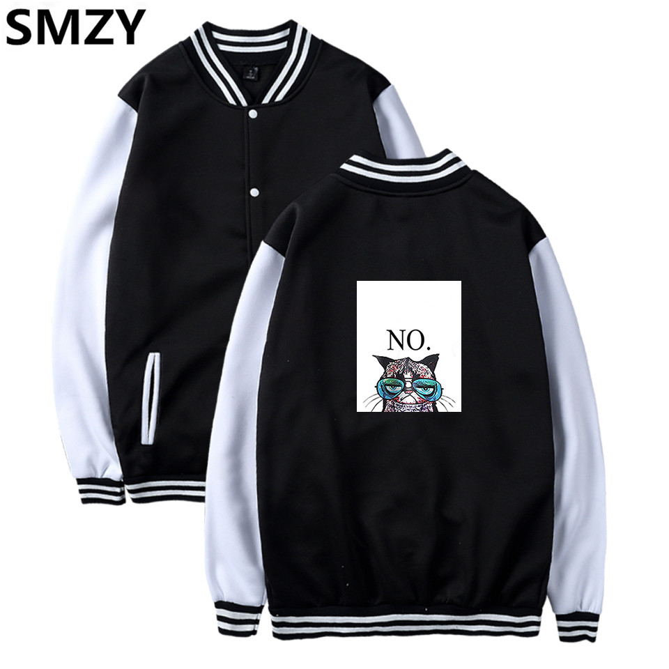 SMZY Cat Baseball Jacket Hoodies Vrouwen Casual Fashion Cartoon Cat Men Hoodies Sweatshi ...