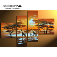 5D DIY Diamond Painting Giraffe Crystal Diamond Painting Cross Stitch Multi Joint Landscape Needlework Home Decorative