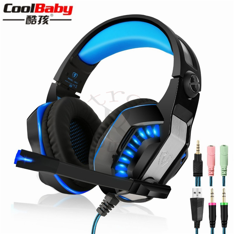 2018 NEW GM-2 Gaming Headset Over-ear Stereo 2.1m Cable LED Light Bass Headphones with Mic for Game Tablet for PS4 for Xboxone