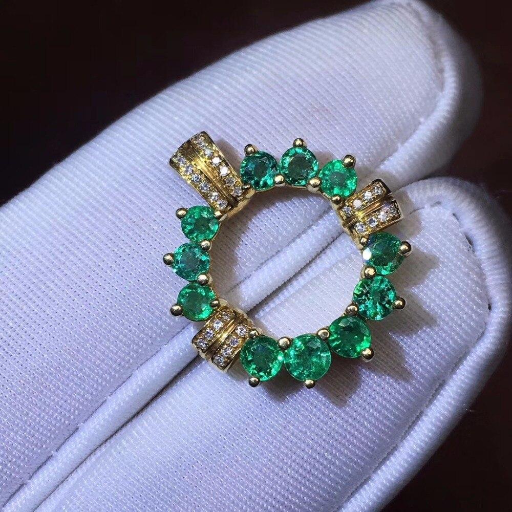 Beaux bijoux en or 18 K véritable AU750 G18K pendentif émeraude naturel Emearld or diamant pendentif colliers de pierres précieuses pour les femmes