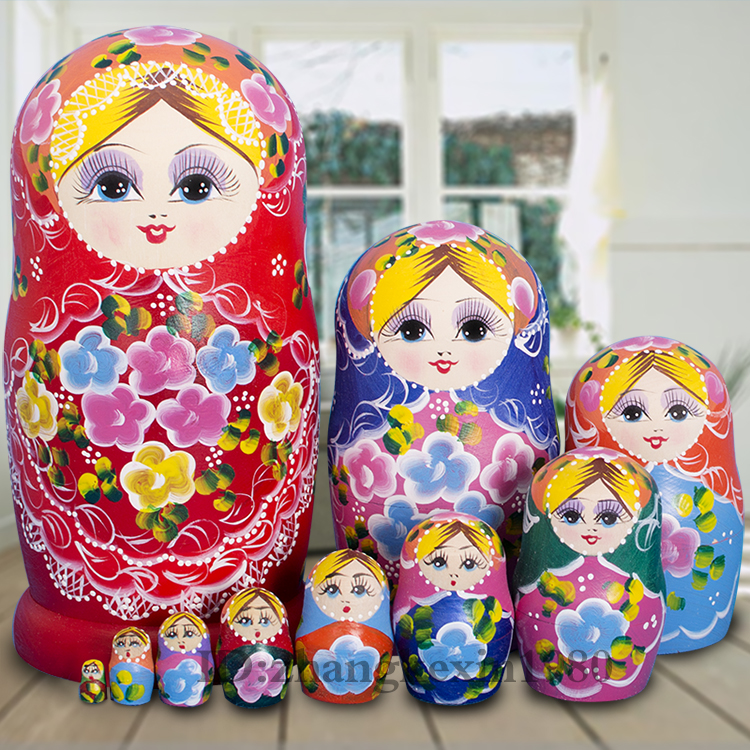 10Pcs Colorful Handmaked Linden Wooden Russia Doll Home Deaor Do Not Fade Russian Dolls Matryoshka Set Basswood Overlap Gift
