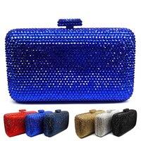 LaiSC groothandel Luxe marineblauw avond handtas Rode crystal Clutch bag vrouwen avondtasje Wedding purse bruid pochette tas SC042