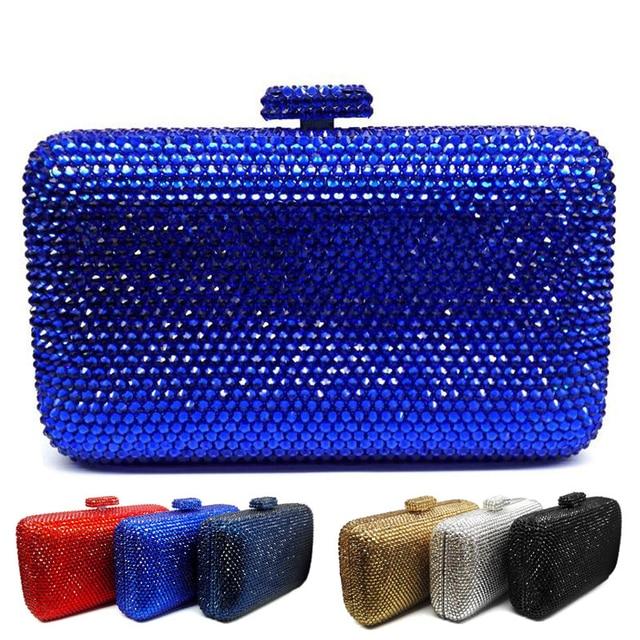 Laisc Whole Luxury Navy Blue Evening Handbag Red Crystal Clutch Bag Women Wedding Purse