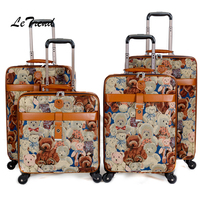 Letrend Cute Bear Student Travel Bag Spinner Rolling Luggage Wheel Suitcase Trolley 16 inch Chidren Carry On Box Women