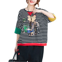 Large Size Summer Top Women 2018 Fashion Loose Striped Patchwork Tee Shirt Femme Short Sleeve Casual