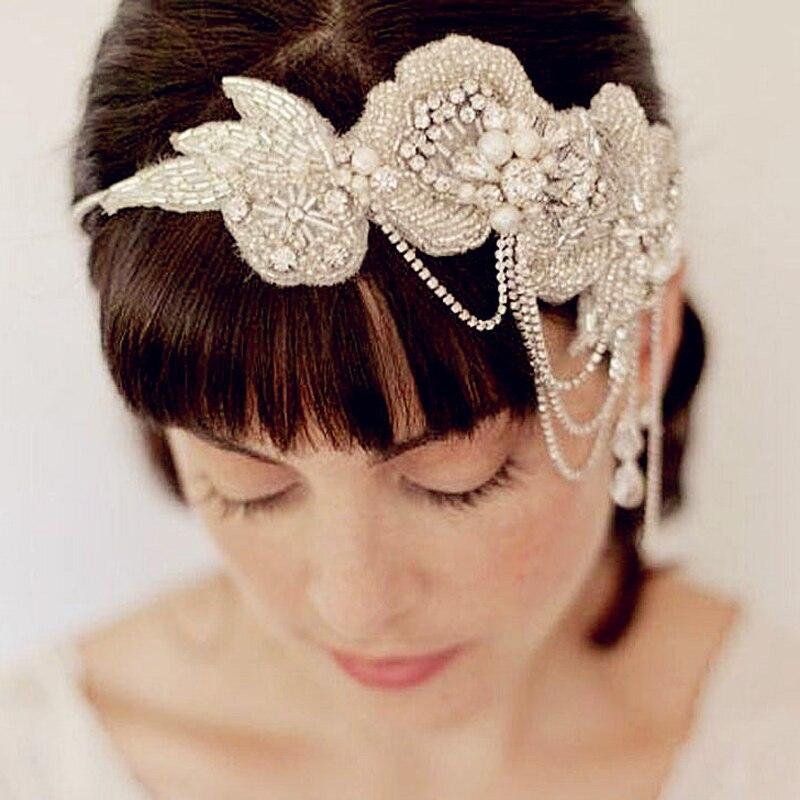 Bridal-Headbands Tiaras Bride Pearl Wedding Headpieces Crystal Vintage with Ribbon