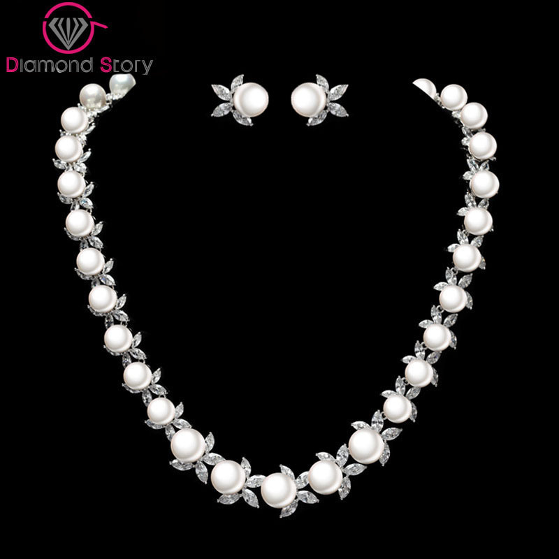 Teemi Brand Newest Elegant Cubic Zircon and Sea Shell Pearl Flower Choker Necklace for Luxury Bridal